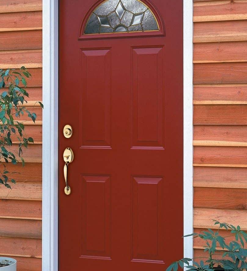 red door cedar siding white frame