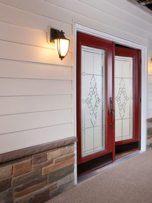 french door exterior angle open