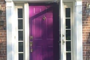 front entry door custom purple door