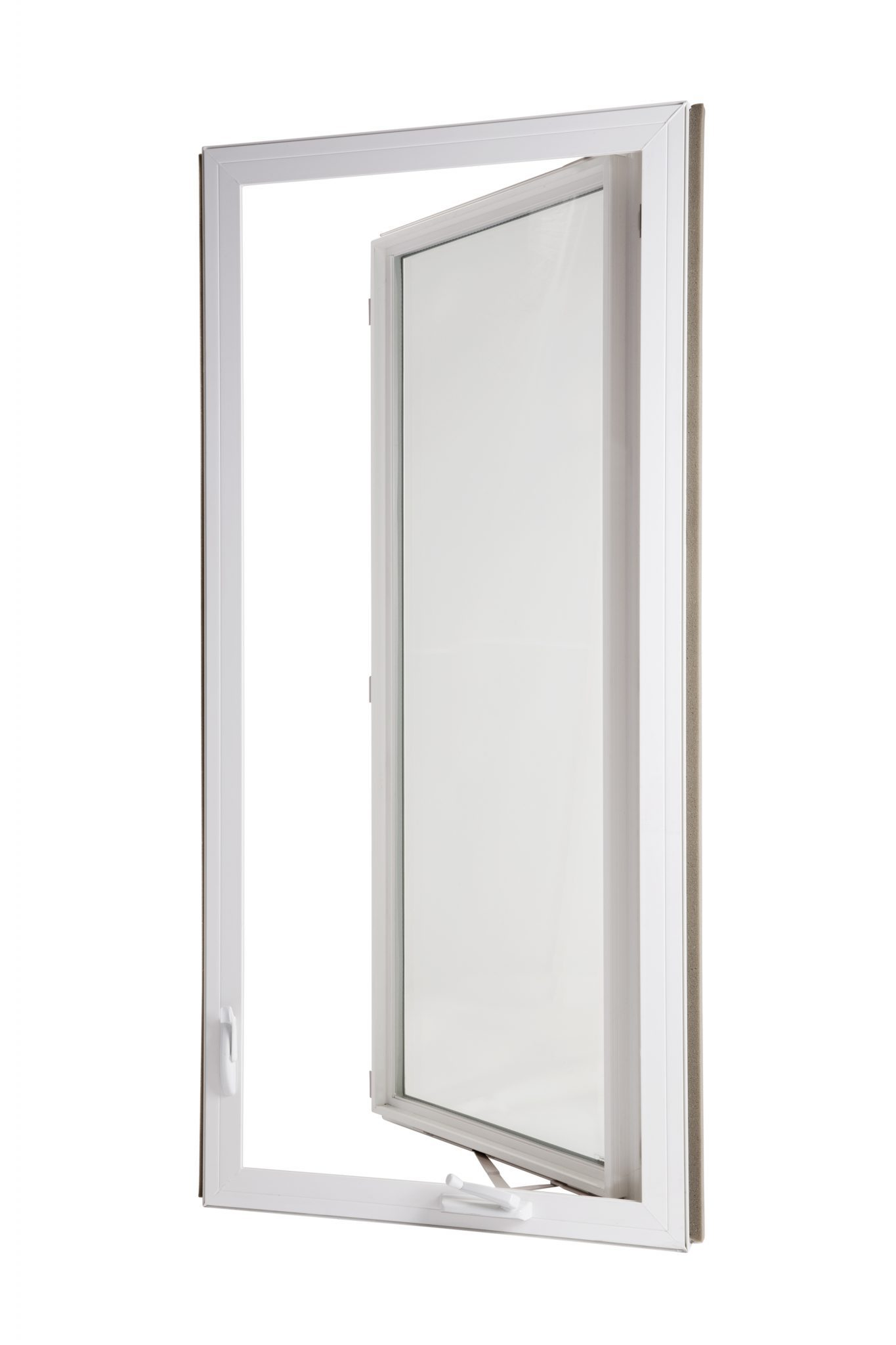 an open casement window with white vinly