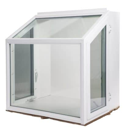 garden window with white vinyl