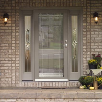 a storm door with side lites