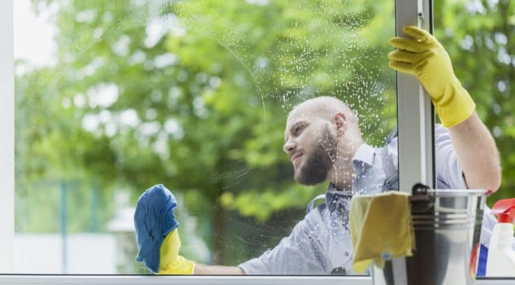 Cleaning Double Hung Windows