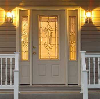 Door with Sidelights at Night