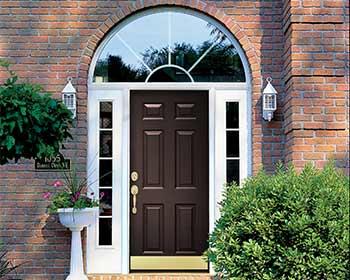 Rustic Bronze Front Door with Half Circle Transom Window