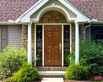 Solid Wood Look Door with Sidelights