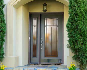 Steel Entry Door with Large Glass Panel and Sidelight