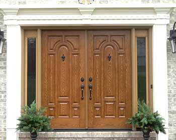 wood look double front doors
