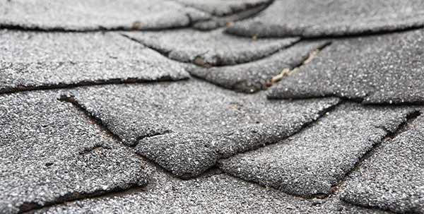 Close view of damaged shingles